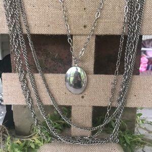 Vintage Mutlichain drop pendant necklace